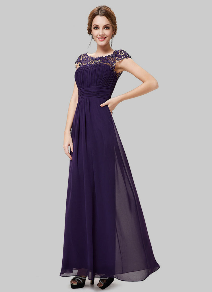 Embellished Open Back Dark Purple Lace Chiffon Evening Gown