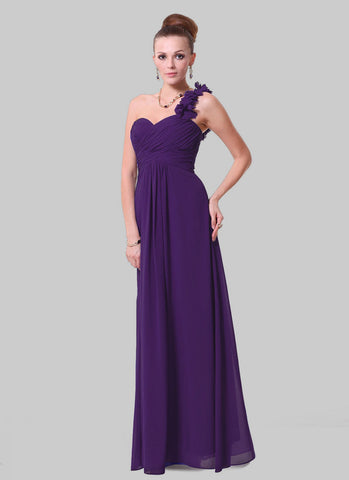 Open Shoulder Purple Maxi Dress with 3D Floral Embellishment RM456
