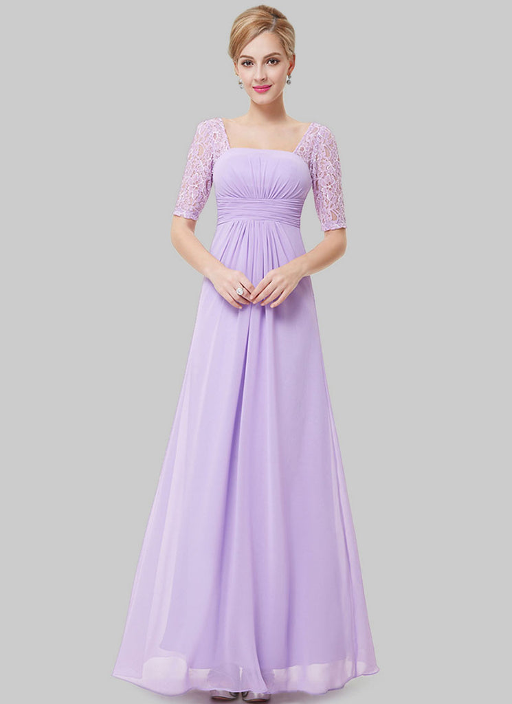 Empire Waisted Thistle Lace Chiffon Maxi Dress with Open Back