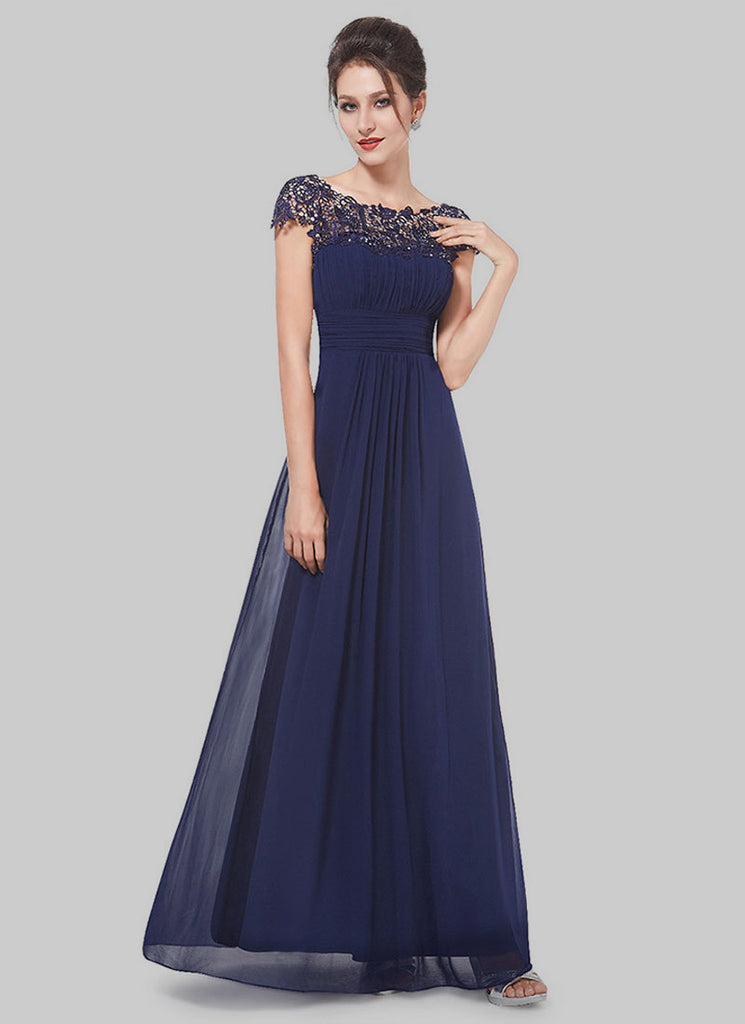 Embellished Open Back Navy Lace Chiffon Evening Gown