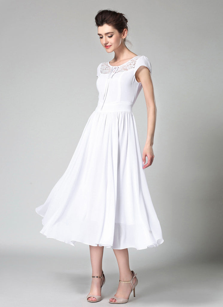White Chiffon Midi Dress with Lace Details and Puff Cap Sleeves MD44 ...