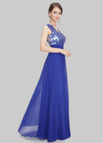 V Neck Blue Lace Chiffon Evening Dress with Sheer Back