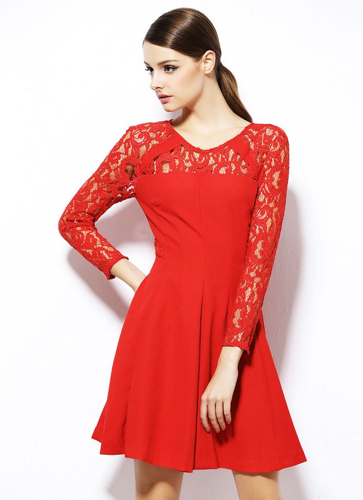 f58ff3ad68 Long Sleeve Red Fit and Flare Mini Dress with Lace Details RD372
