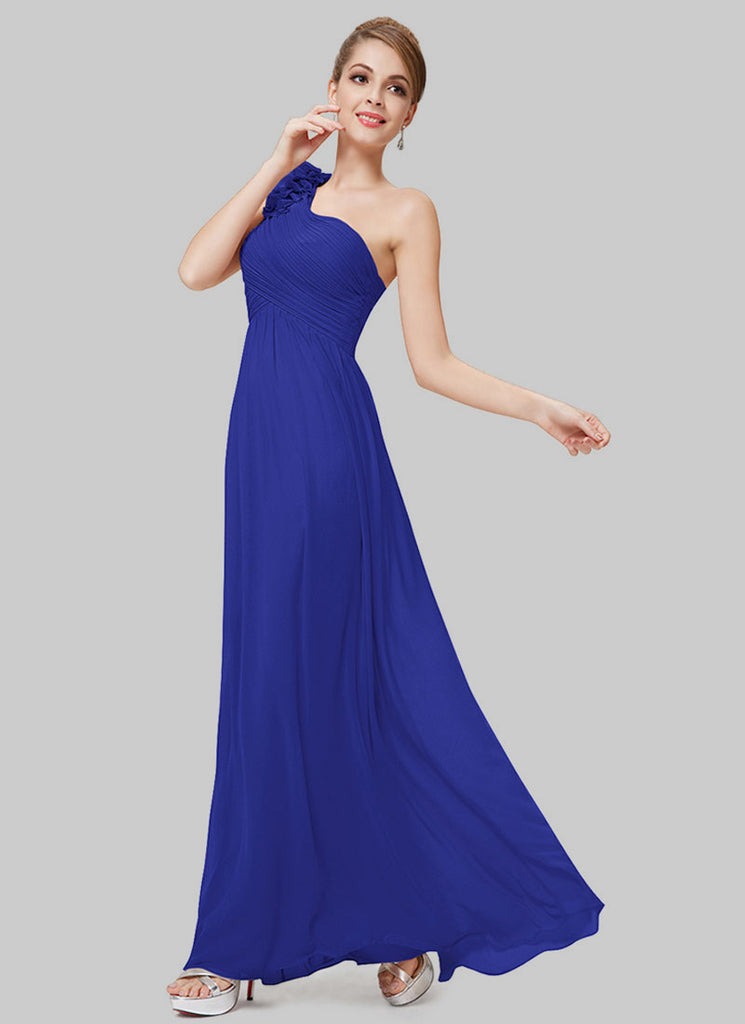 One Shoulder Blue Maxi Dress with Floral Embellishment
