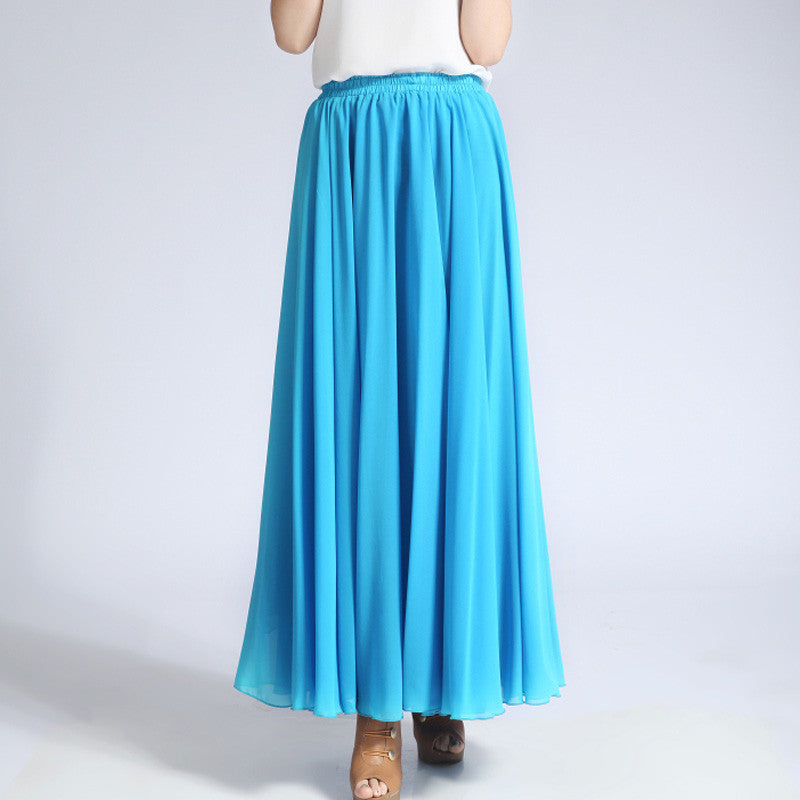 56da6599b5a52 Deep Sky Blue Chiffon Maxi Skirt with Extra Wide Hem - Long Aqua Chiffon  Skirt -