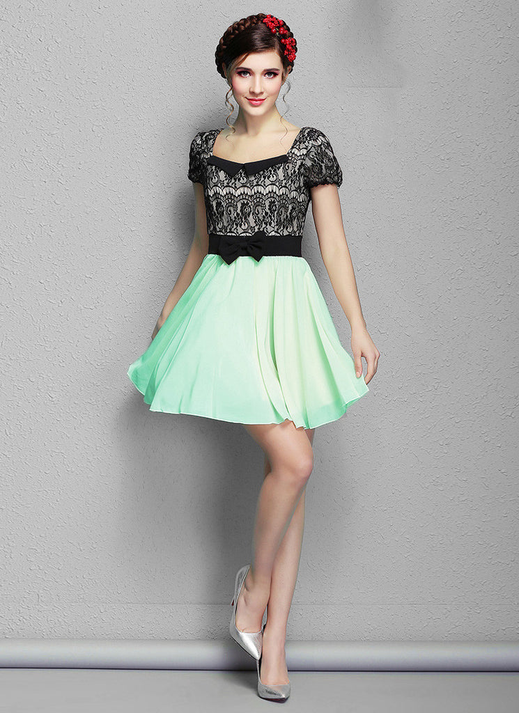 Black Lace Mini Dress with Mint Green Skirt and Modified Peter Pan Collar