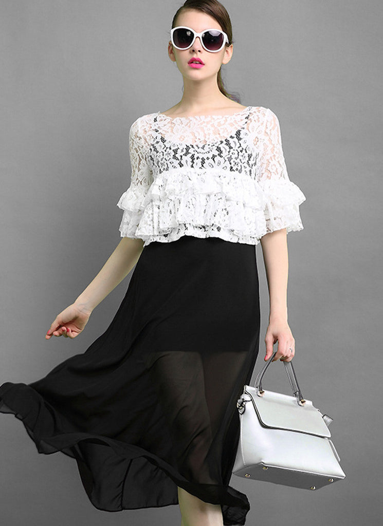 5024fe88c09a Black and White Lace Peplum Maxi Dress RM576 – RobePlus