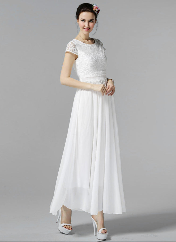 393e8b3bf0 White Lace Chiffon Maxi Dress with Cap Sleeves and Layered Waist ...
