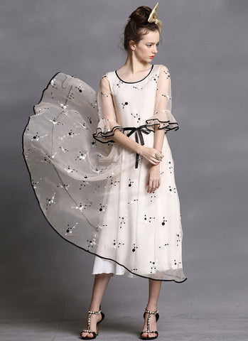 Floral Embroidered Organza Tea Dress with Layered Lantern Sleeves RM414