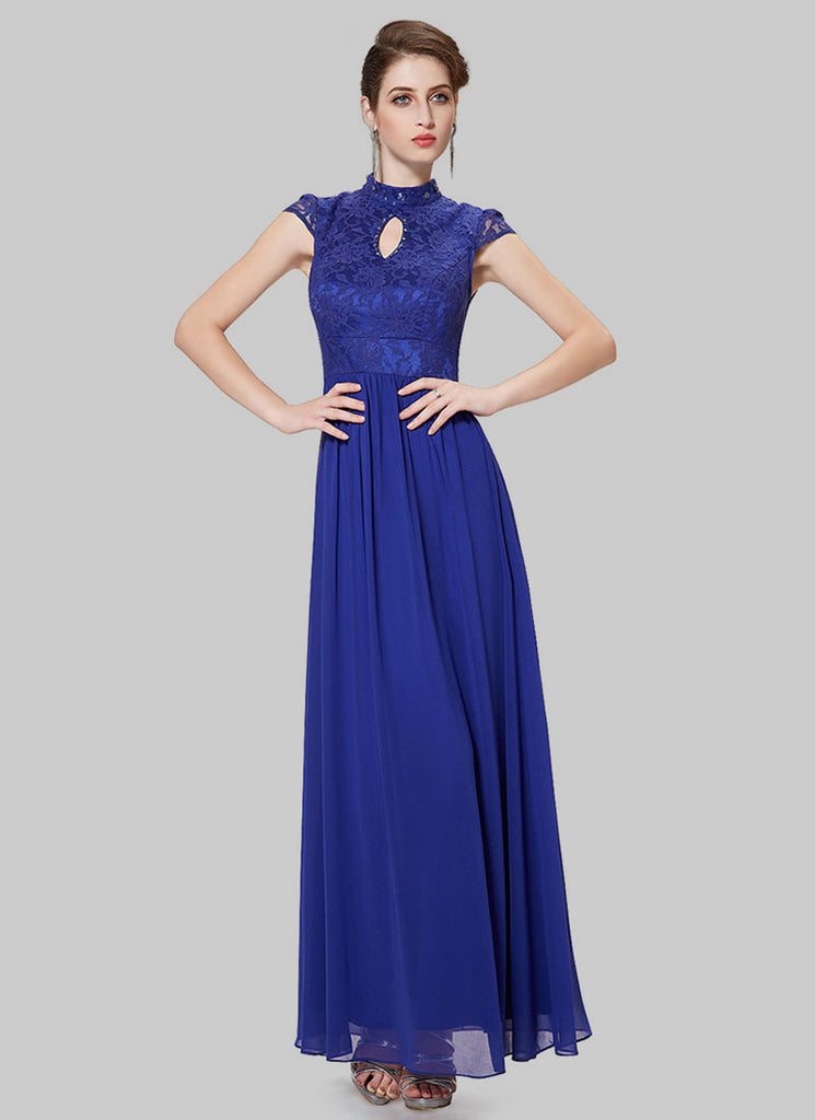 f7c7e76c95a4 Blue Lace Chiffon Evening Dress with Stand Collar and Cap Sleeves ...