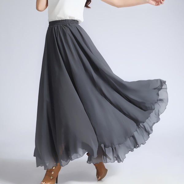 Dark Gray Chiffon Maxi Skirt With Extra Wide Hem Long