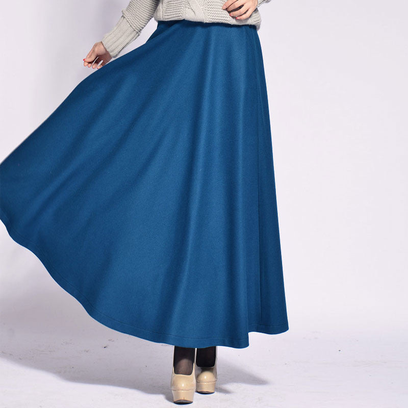 Dodger Blue Wool Blend Maxi Skirt