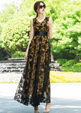 V Neck Black Floral Organza Lace Maxi Dress with Pleated Waist and Yellow Lining