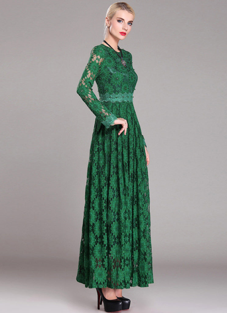 Long Sleeved Emerald Green Lace Maxi Dress with Bead Embellished ...