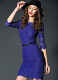 Royal Blue Lace Sheath Mini Dress with Eyelash Details