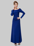 Off-Shoulder Blue Maxi Dress with Long Sleeves