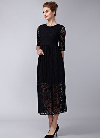Black Lace Tea Dress (Midi Dress) with Scalloped Hem and Elbow Sleeves RM580
