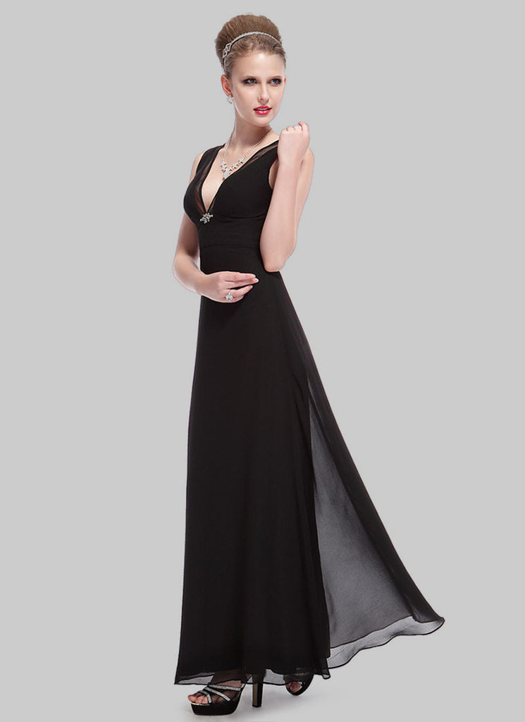 V Neck Black Maxi Dress With Empire Waist Rm509 Robeplus