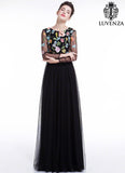 Black Tulle Maxi Evening Dress with Floral Accents Colorful Embroidered Bodice and Long Sleeves