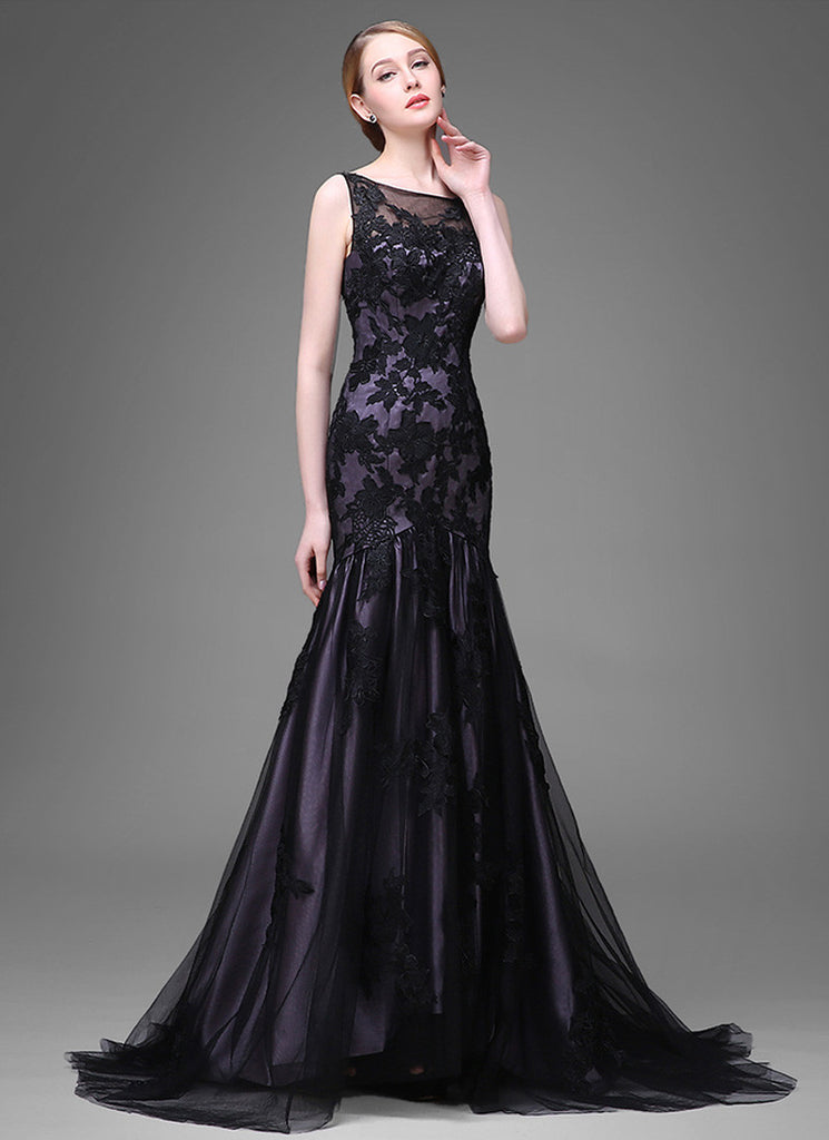 Dark Slate Blue Evening Dress With Black Tulle Overlay And Lace