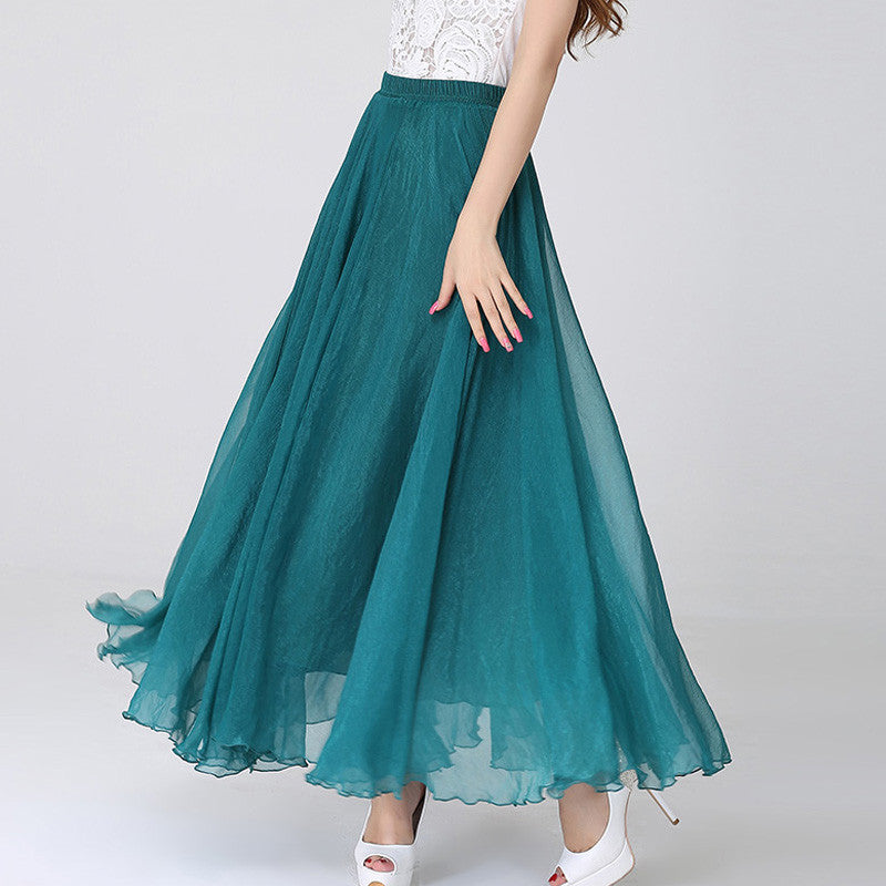 4420cc9aa7885 Teal Chiffon Maxi Skirt with Extra Wide Hem - Long Teal Chiffon ...