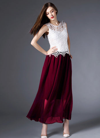 Maroon Maxi Dress with White Lace Peplum Top RM574