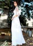White Lace Chiffon Maxi Dress with Elbow Sleeves