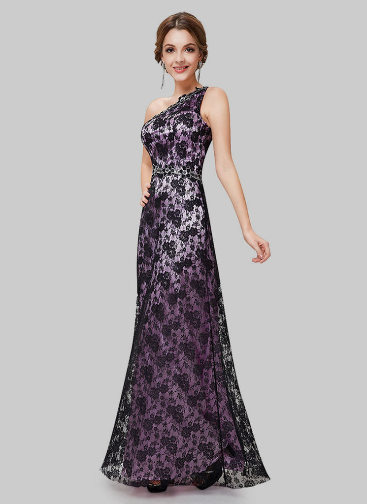 One Shoulder Black Lace Evening Gown with Purple Lining and Cabochon ...