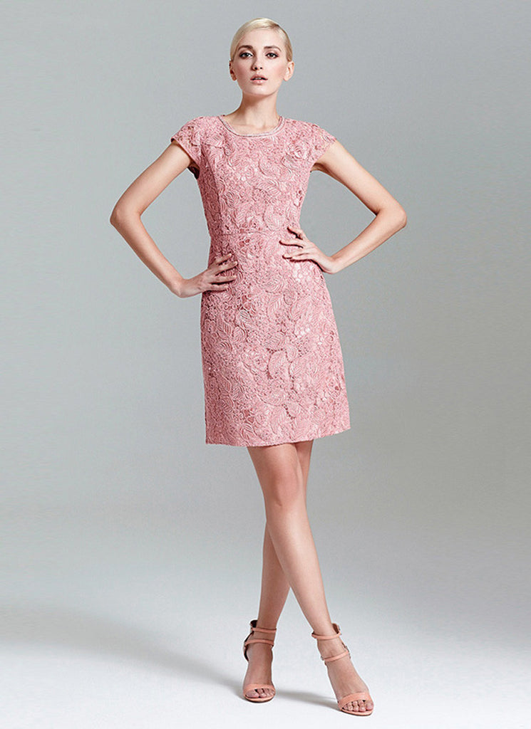 Nude Pink Lace Mini Dress Sheath Dress With Cap Sleeves -5334