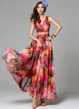 Red Floral Maxi Dress with V Neck and Faux Surplice Top