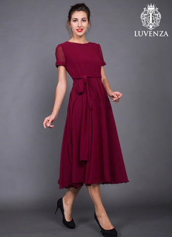 Short Sleeve Tea Length Maroon Chiffon Midi Dress with Sash