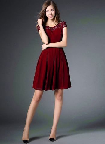 Maroon Lace Chiffon Mini Fit and Flare Dress with Cap Sleeves RD560