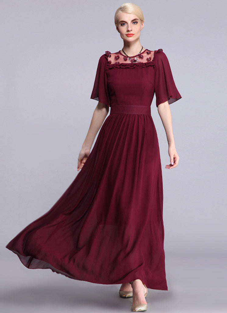 Maroon Chiffon Maxi Dress with 3D Floral Appliqué Details and Elbow Sleeves