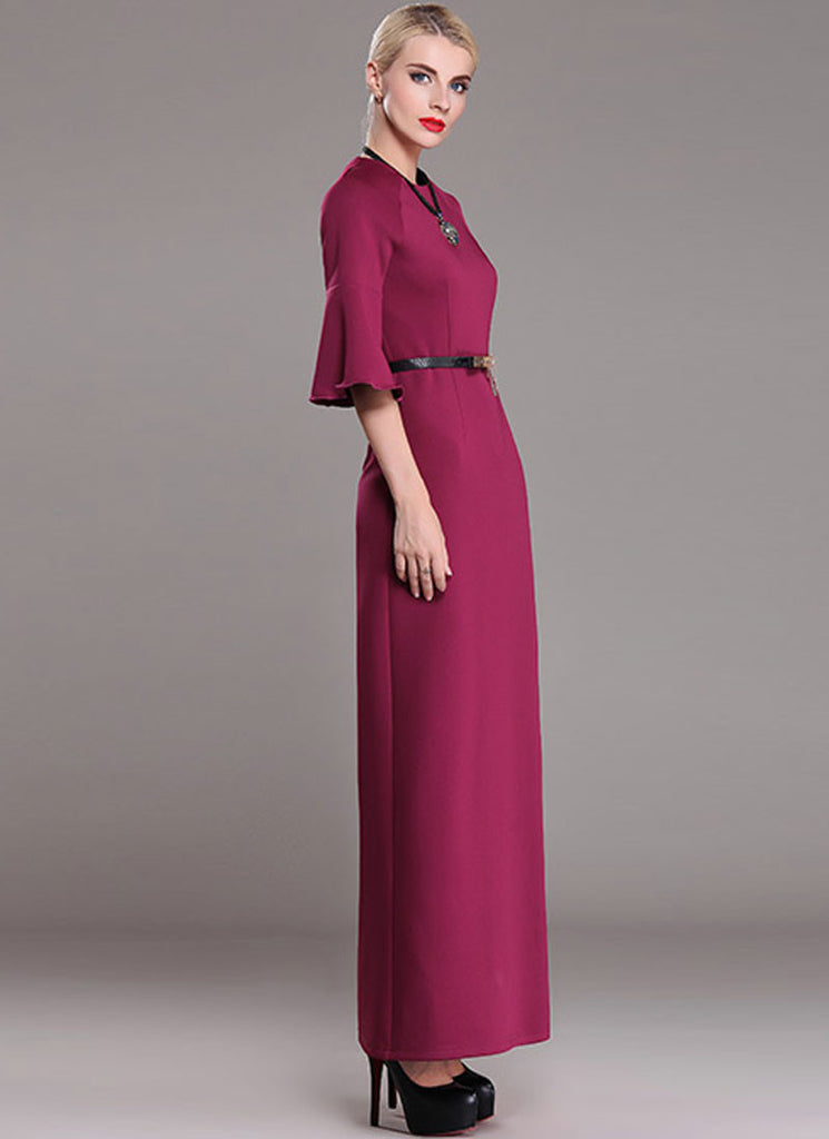 Medium Violet Red Maxi Dress with Trumpet Sleeves RM368 ...