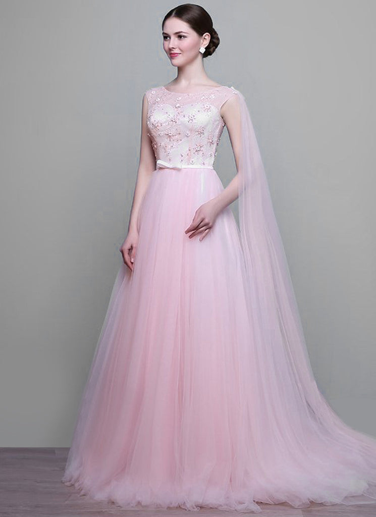 Light Pink Lace Tulle Maxi Dress Wedding Gown With Bead