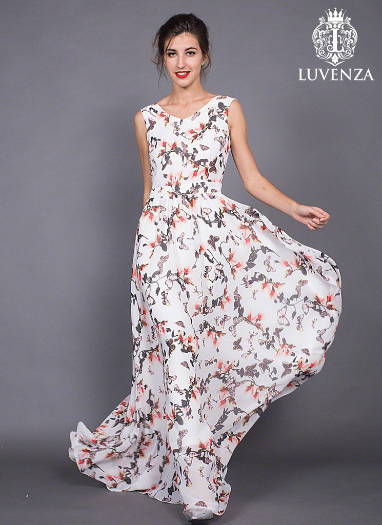 Long White Chiffon Maxi V Neck Sundress with Pink and Grey Butterfly Print