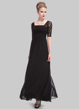 Empire Waisted Black Lace Chiffon Maxi Dress with Open Back