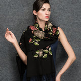 Black Wool Scarf - Lightweight Wool Scarf - Black Wool Embroidery Scarf  - WS1