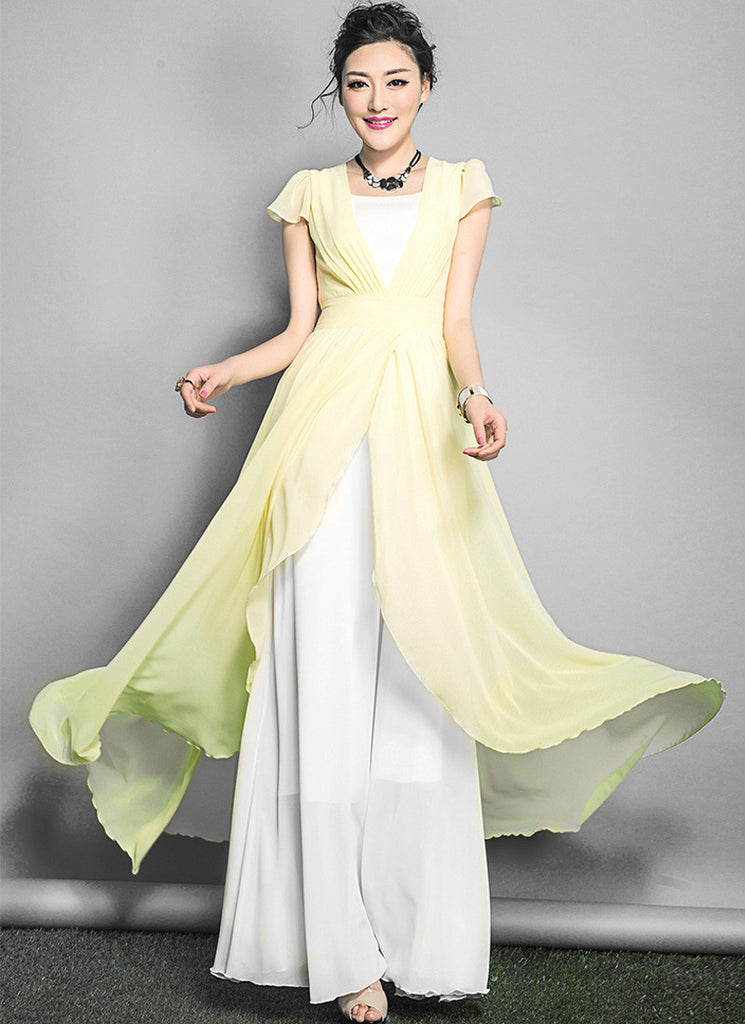 a603c588f029 White Maxi Dress with Thistle Asymmetric Overlay RM642 – RobePlus