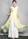 White Maxi Dress with Thistle Asymmetric Overlay RM642