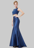 Navy Blue Mermaid Evening Gown with Scalloped Lace Top