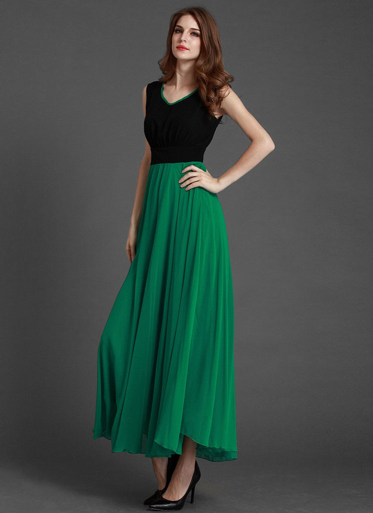 V Neck Green Chiffon Maxi Dress With Black Top Mx26 Robeplus