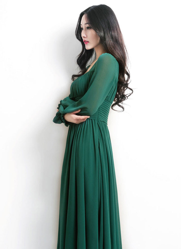c2bca108cbbe Empire Waist Emerald Green Maxi Dress with Square Neck RM444 – RobePlus