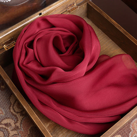 Maroon Silk Chiffon Scarf - Burgundy Wine Red Mulberry Silk Scarf SS1