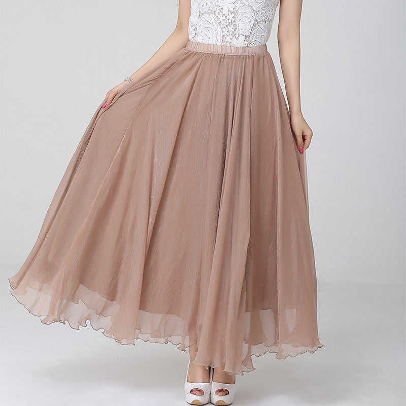 Burly Wood Chiffon Maxi Skirt with Extra Wide Hem