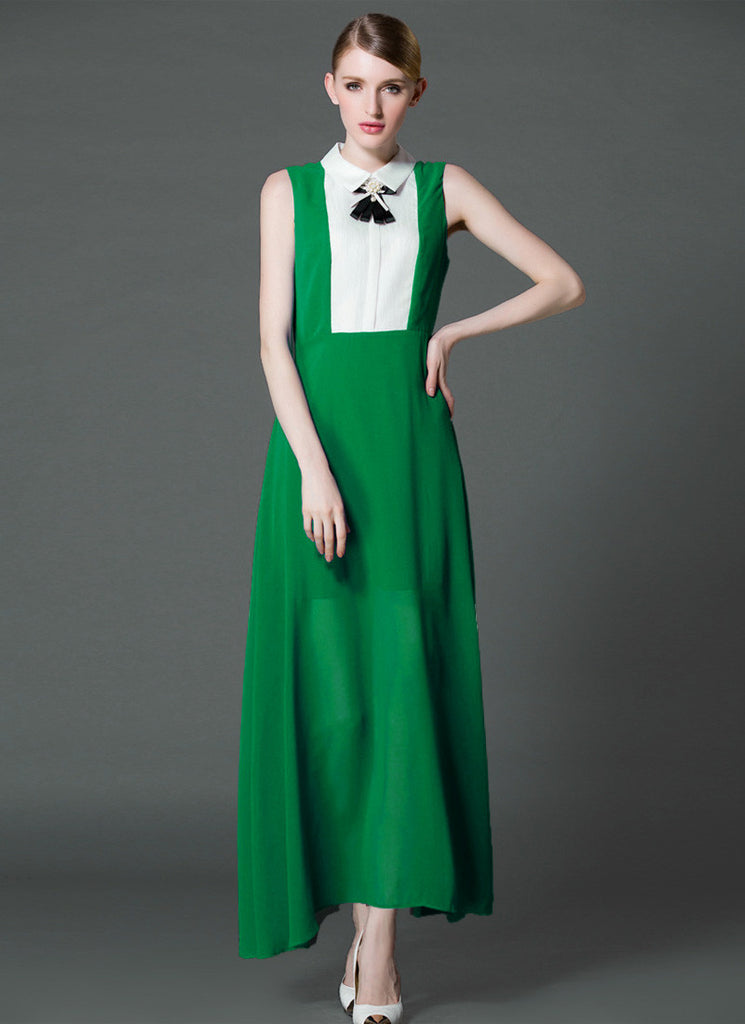 Emerald Green Chiffon Maxi Dress with White Shirt Top