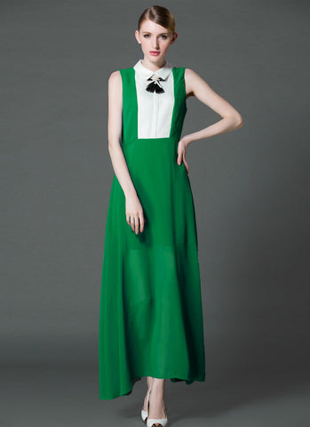 Emerald Green Chiffon Maxi Dress with White Shirt Top RM573
