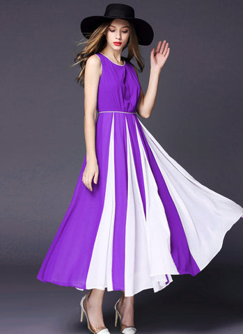 Orchid Purple Chiffon Maxi Dress with Contrast White Fabric Insertion on Skirt RM570