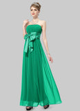 Strapless Green Maxi Dress with Wide Satin Waist Yoke and Sash