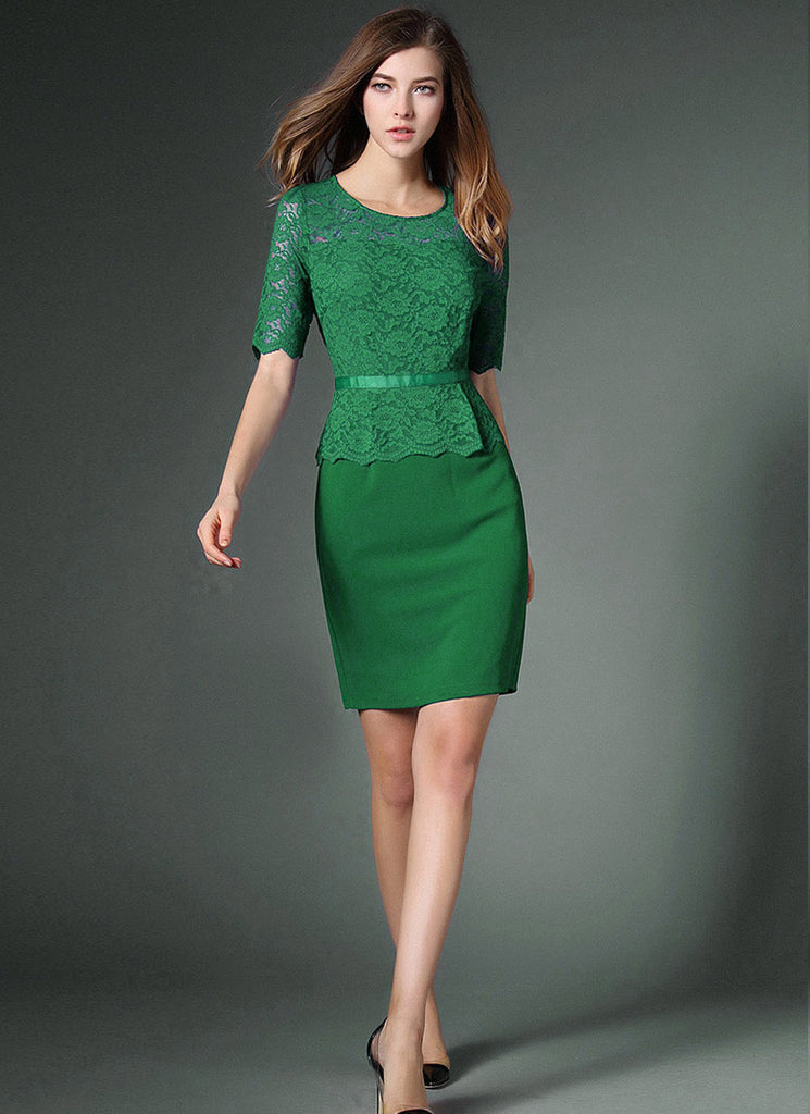 Green Lace Peplum Mini Dress with Scallop Details